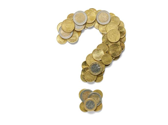 Point d'interrogation créer avec des pièces de monnaie