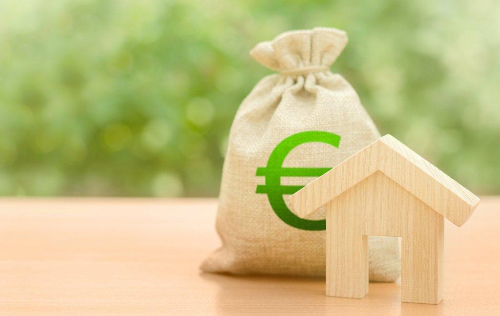 Figurine maison bois et sac argent economie