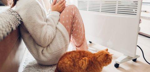 femme et chat devant radiateur electrique