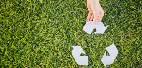 Gazon vert avec une main qui tient un sigle recyclage