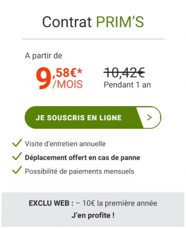 Entretien chaudière gaz : contrat Prim